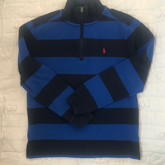 Ralph Lauren Striped 1//4 Zip Long Sleeve Sweater